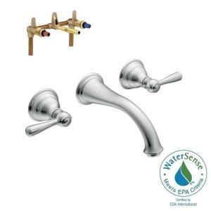 Moen Kingsley Wall Mount 2 Handle Low Arc Bathroom Faucet Trim Kit With Valve In Chrome T6107 9700 The Home Depot Low Arc Bathroom Faucet Wall Mount Faucet Bathroom Bathroom Faucets