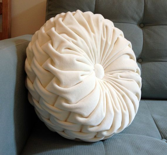 Round Velvet Floor Pillow  Round Smocked Dove White