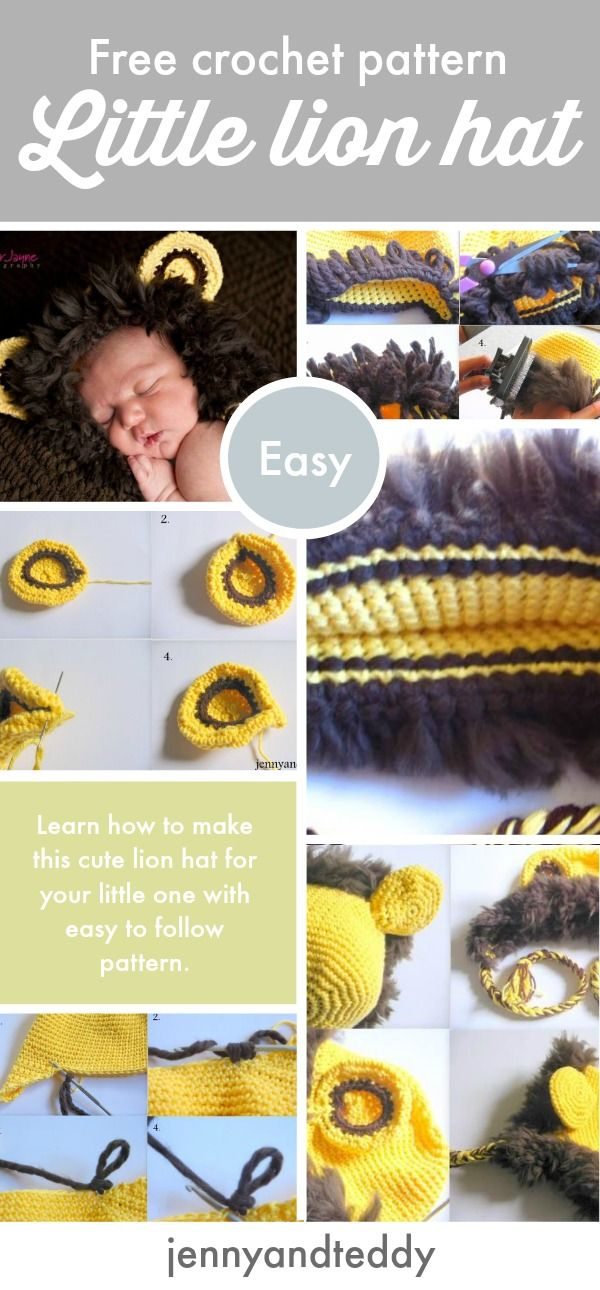 d66f39b955ad97 free crochet lion hat pattern for newborn baby to 3 months old beginner  friendly go to get the very detail photo tutorial on the blog.