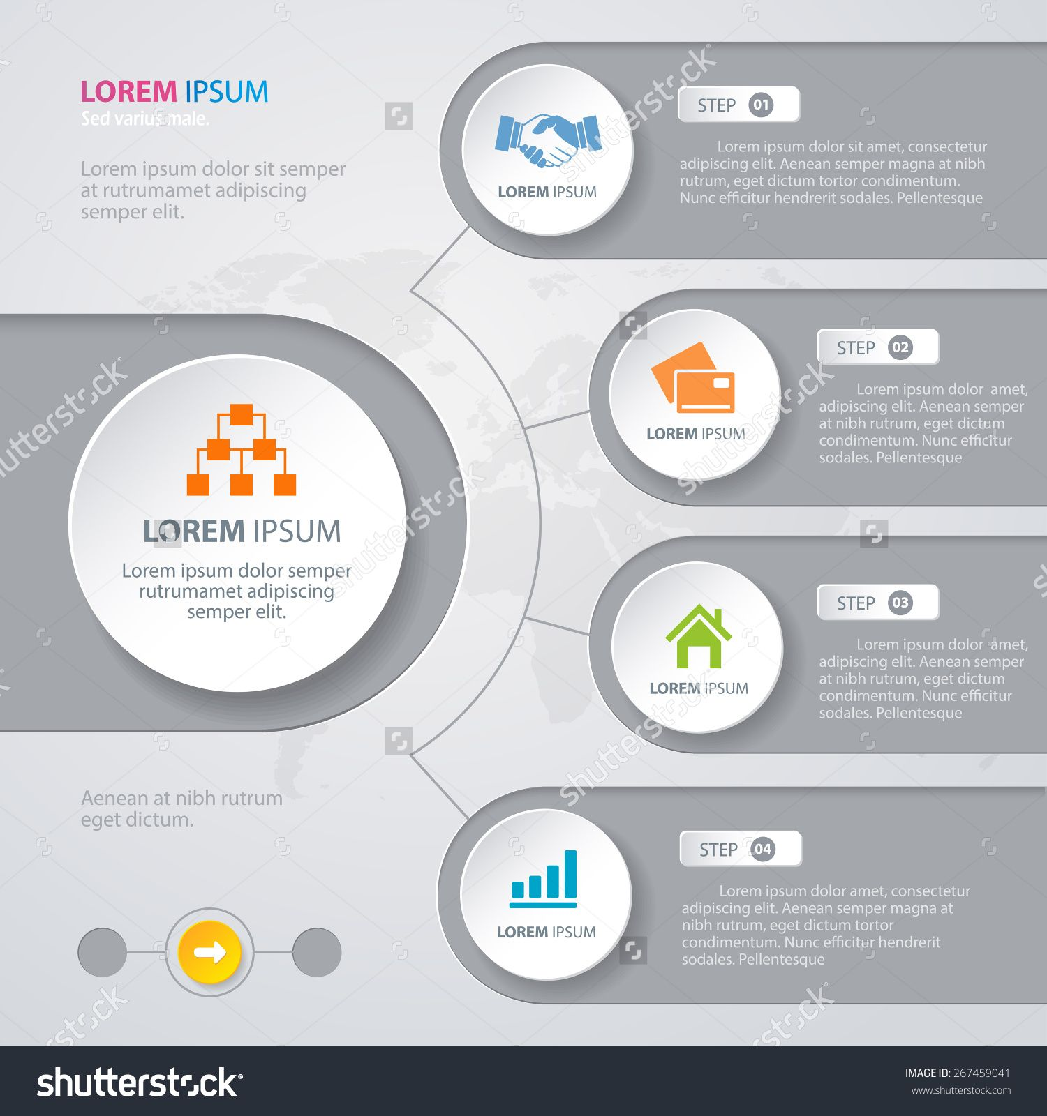 Vector infographic design white circles with world map on the grey vector infographic design white circles with world map on the grey background eps 10 can be used for diagram banner number options workflow layout gumiabroncs Choice Image