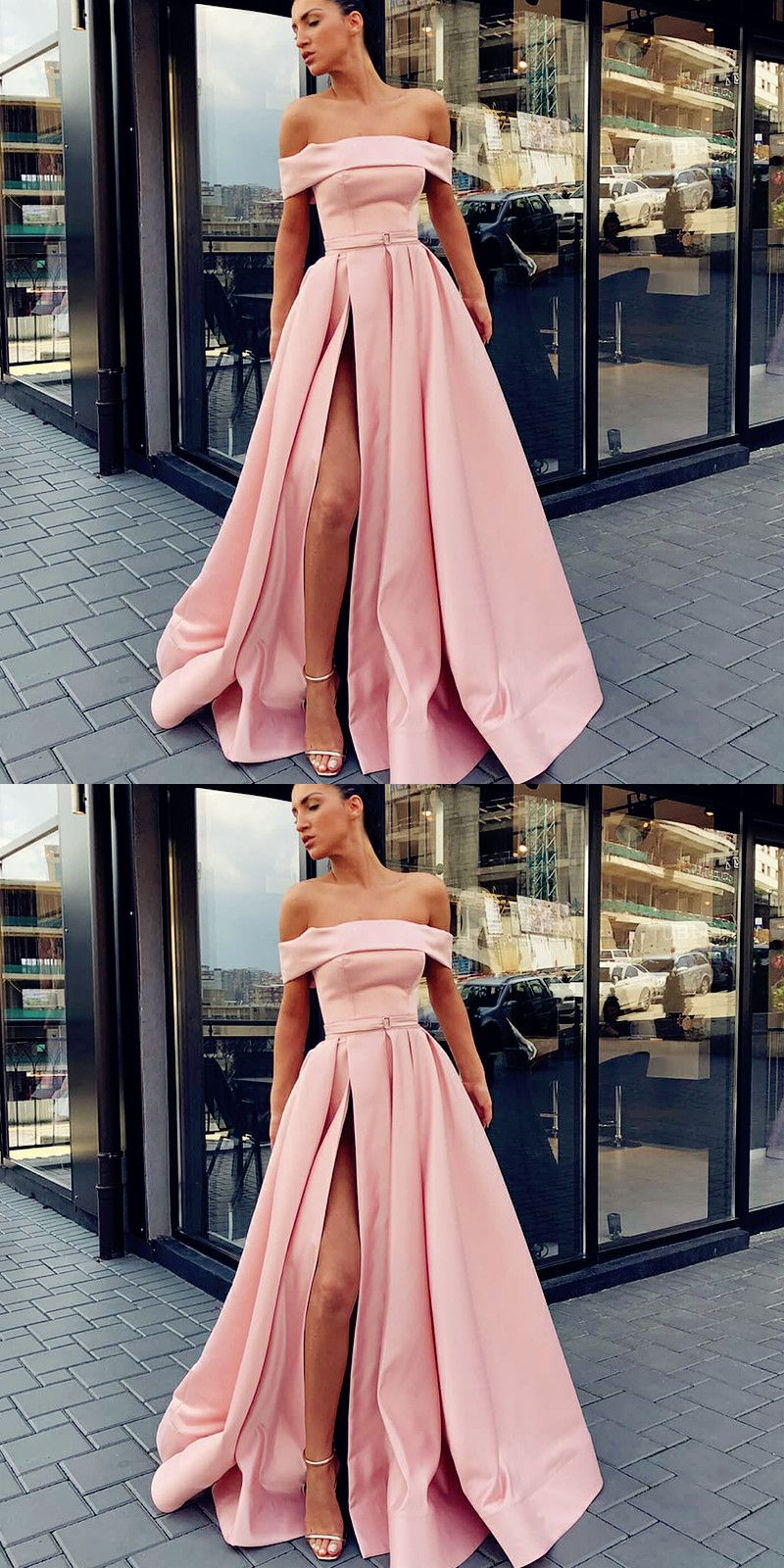 Off the shoulder aline sweep train split front pink prom dress with