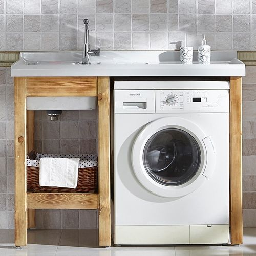 Bathroom sets with washing machine cabinet furniture for Small bathroom designs with washing machine