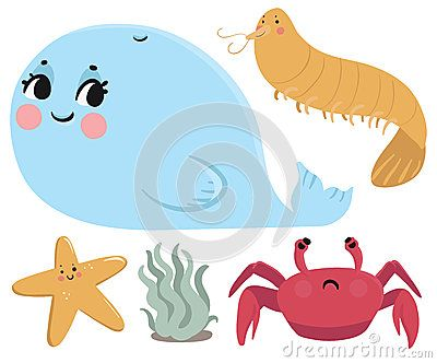 Vector illustration of a couple cartoon animals from the sea. Each animal is in an isolated group.