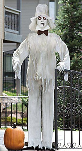 Lifesize Haunting Bewitching Standing Ghost Man Groom with Flashing