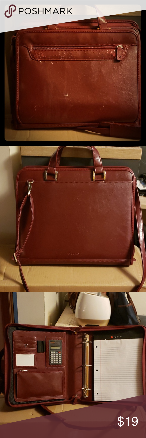 Leather Briefcase Color Burgundy