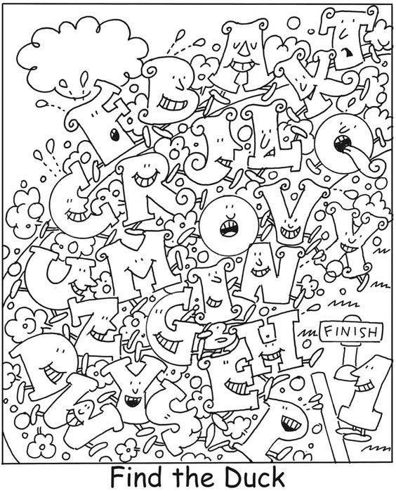 Zoekplaten Eend HIDDEN PICTURES Pinterest Hidden pictures - new hidden alphabet coloring pages