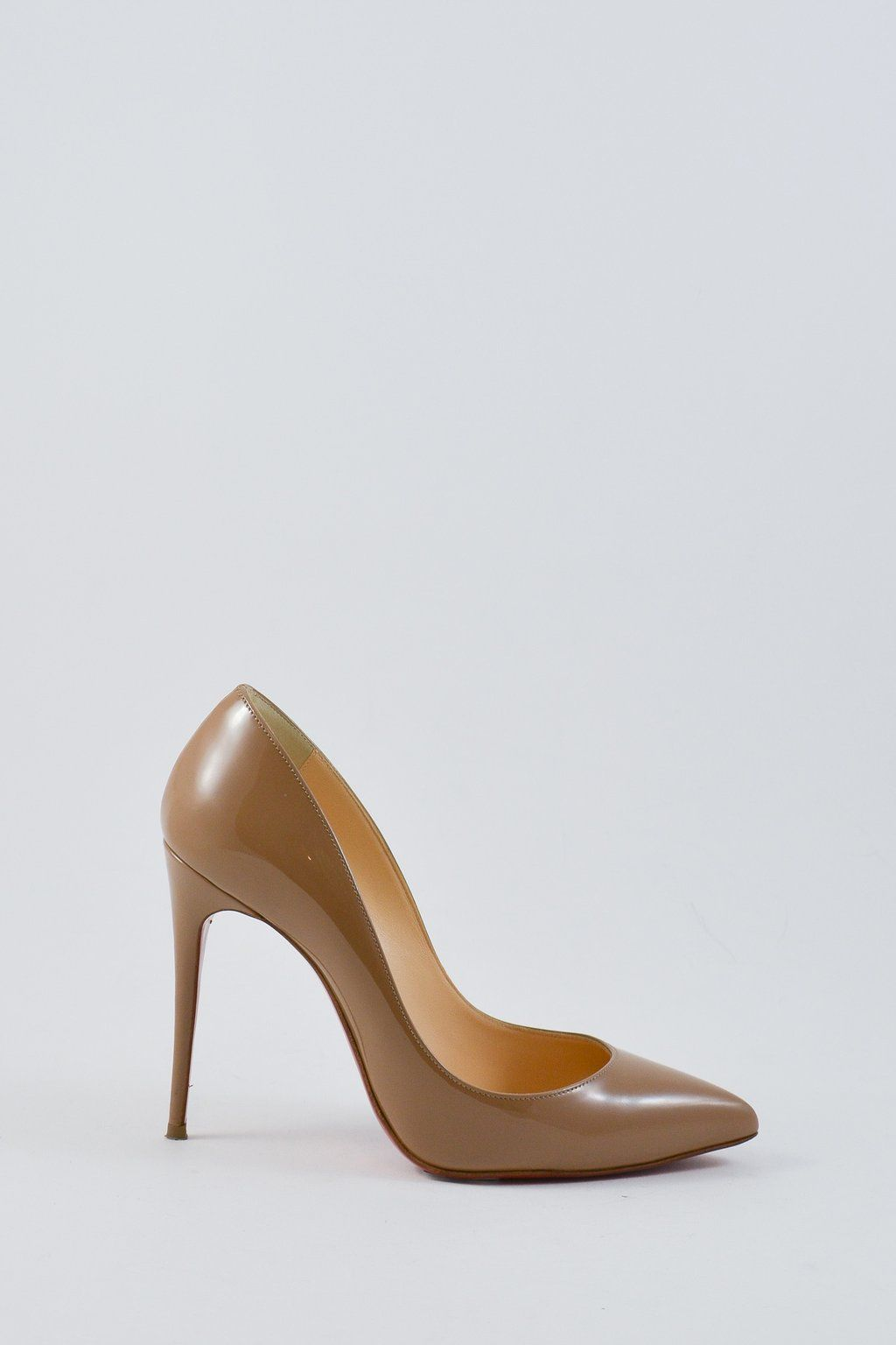 94d49137e Louboutin closed pointed toe light brown/nude pumps. Features patent  leather all around with