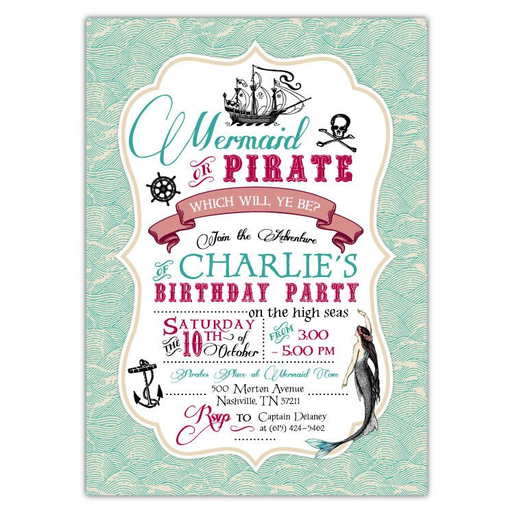 Vintage mermaid pirate party invitations vintage mermaid party vintage mermaid pirate party invitations stopboris Choice Image