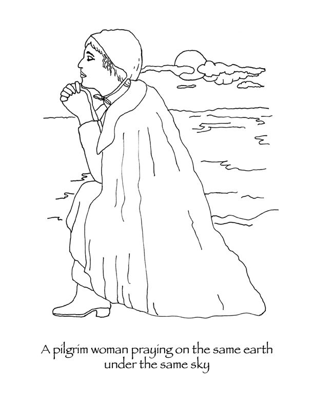 Thanksgiving Coloring Pages Pilgrim Woman Praying With Images