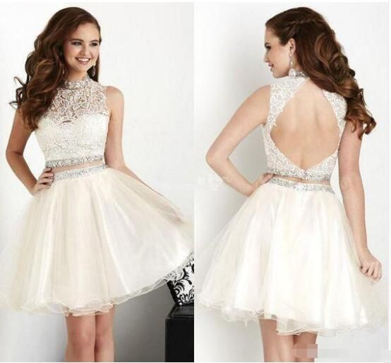 Sleeveless Homecoming Party Dresses Tulle lace Crystal Beading Little Short Cocktail Dress Above Knee Custom Made
