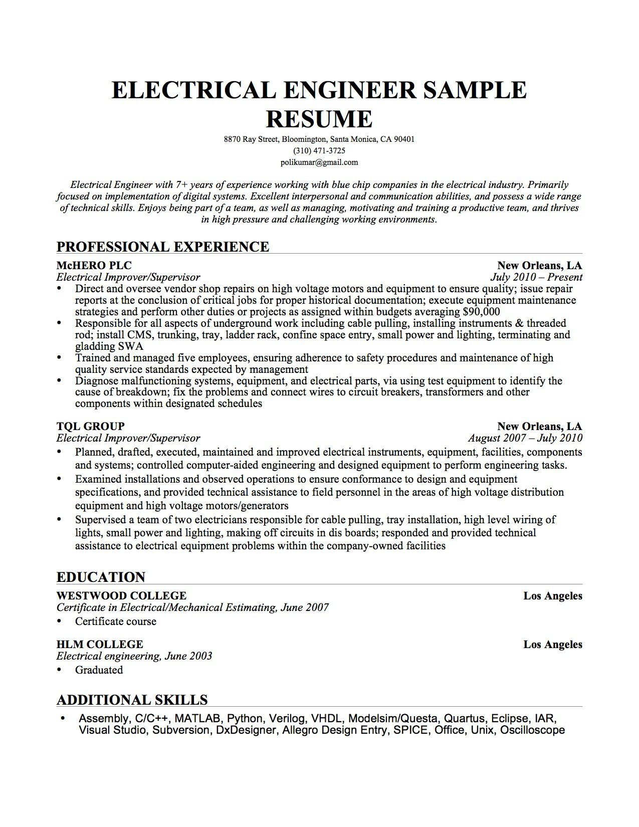 Electrician Resume Engineer Sample Resume Equipment Fixed Biomedical Technician Cover