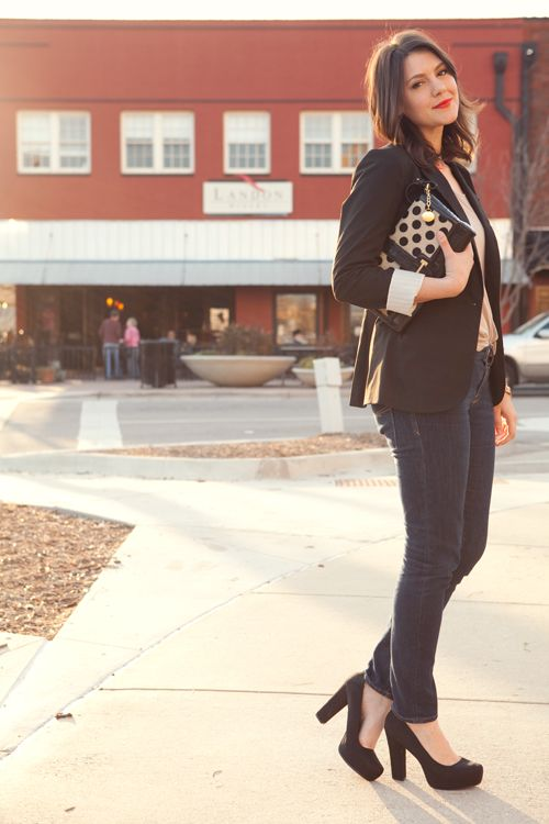what-do-i-wear:    Blazer: Target (Similar) | Shirt: Bloom | Jeans: Gap  | Shoes: Payless (similar) | Clutch: Brahmin (image: kendieveryday)