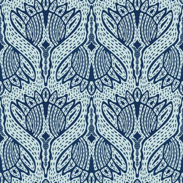 Floral Motif Sashiko Style Japanese Needlework Seamless Vector…