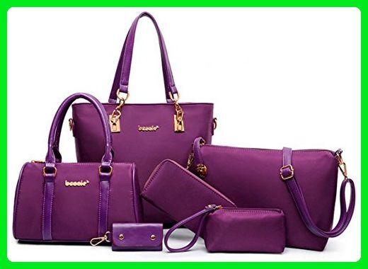 7c436268de Shmily B Women s Shoulder Handbag 6 Piece Set Cross-Body Totes Bag Purse  Wallets (Purple) - Totes ( Amazon Partner-Link)