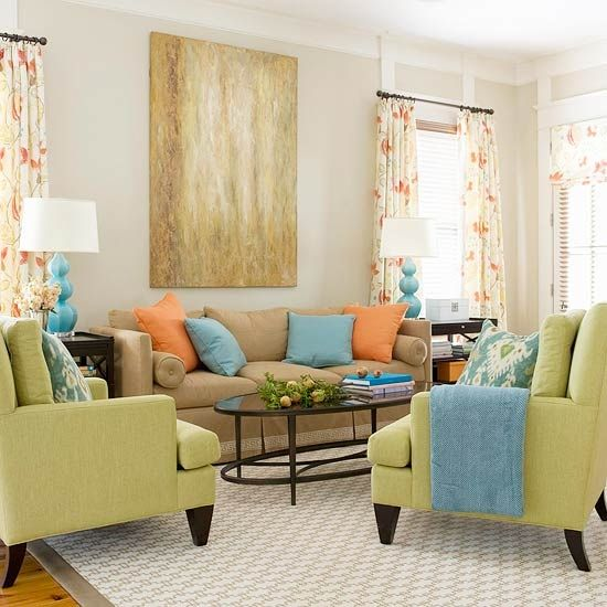Engaging color scheme apple green blue orange by for Apple green living room ideas
