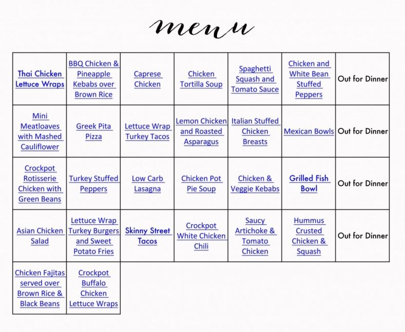 Healthy Menu  Grocery List  Monthly Menu Menu And Easy