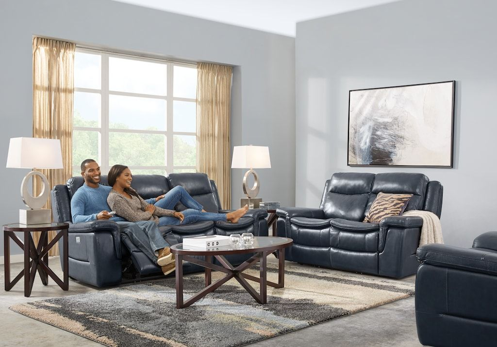 Milano 2 Pc Blue Leather Living Room With Dual Power Reclining Sofa Leather Living Rooms Living Room Leather Leather Living Room Set Grey Walls Living Room #power #living #room #set