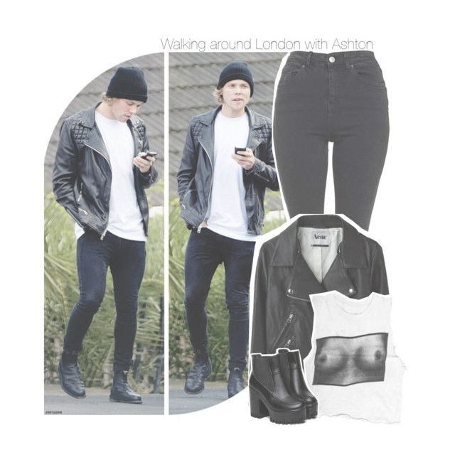 """Walking around London with Ashton"" by antisocialmuke ❤ liked on Polyvore featuring Topshop and Acne Studios"