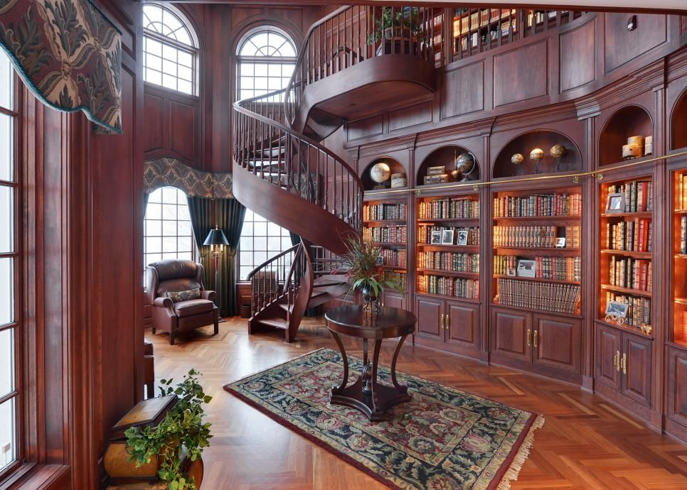 Hofer Badezimmerschrank ~ The stunning cherry wood library boasts wall to wall bookshelves