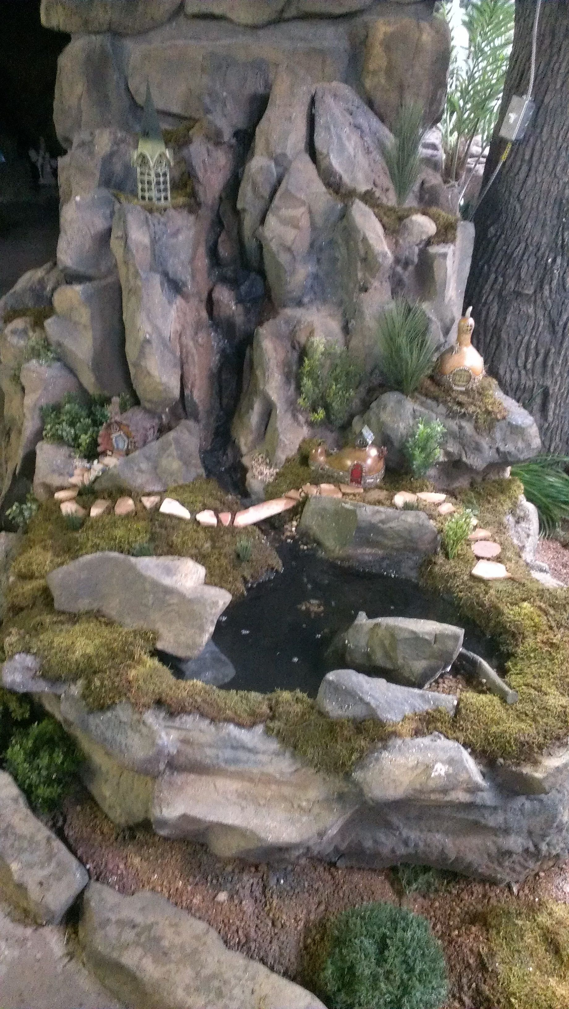 new fairy garden we built from styrofoam It has a fully functional