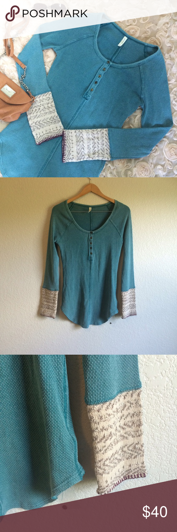 Free People • Top This Alpine Cuff thermal is in excellent condition (still has the extra button attached). Cozy and cute. Free People Tops Tees - Long Sleeve