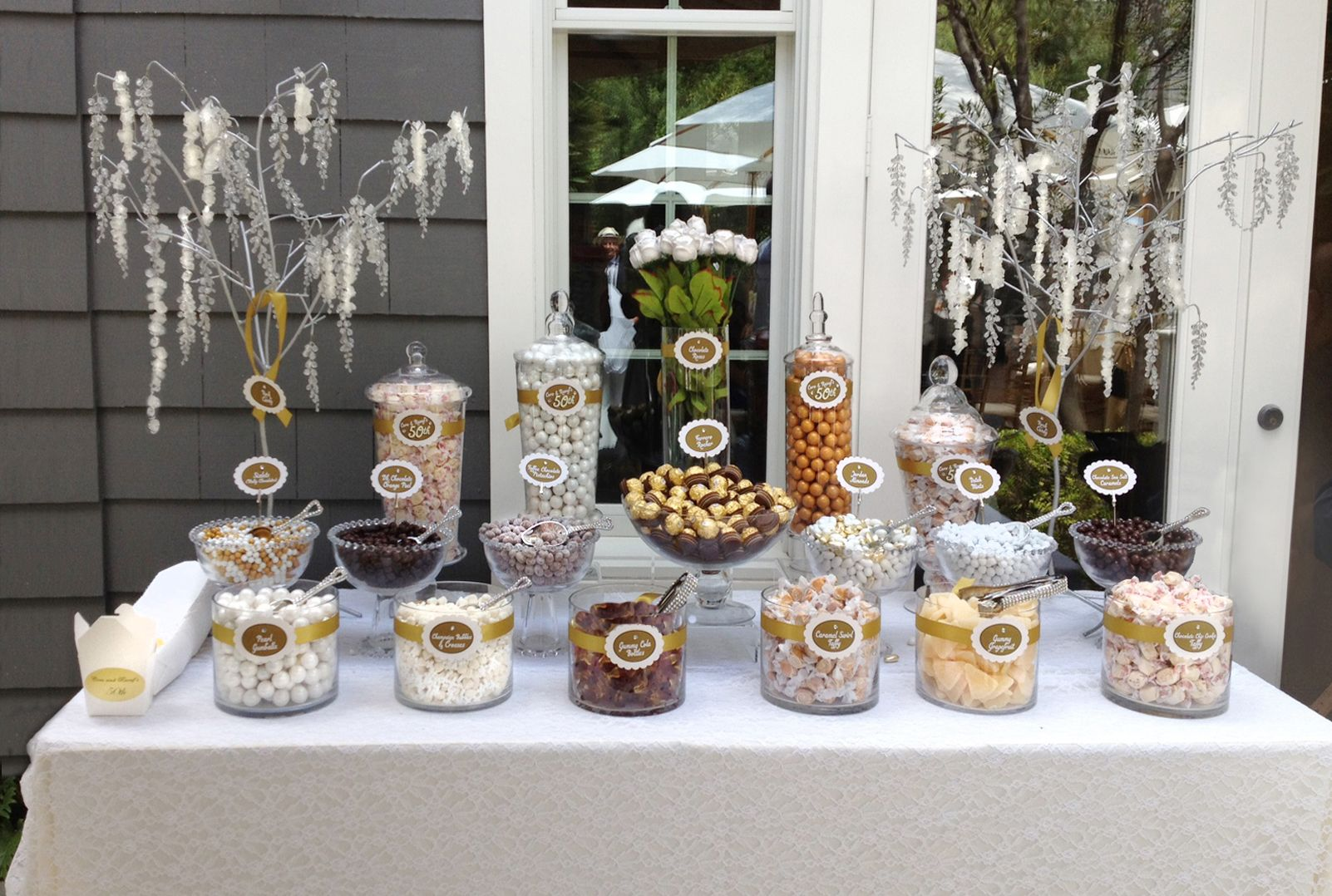 A neutral candy buffet i made for a fun but upscale 50th for Anniversary decoration ideas