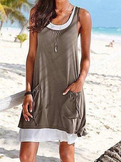 414ee51eb49 Layered 2 in 1 Beach Summer Dress Khaki Blue Green Purple Black Dress