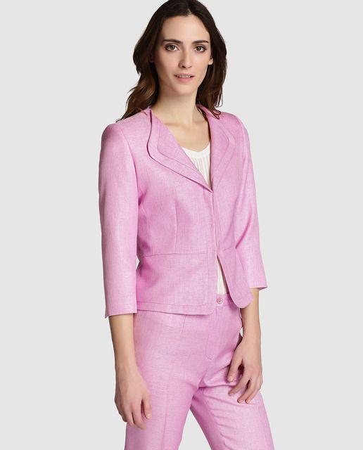 La Pinzado Color Antea Cintura Chaqueta Rosa De Con En Mujer q8f60nwA