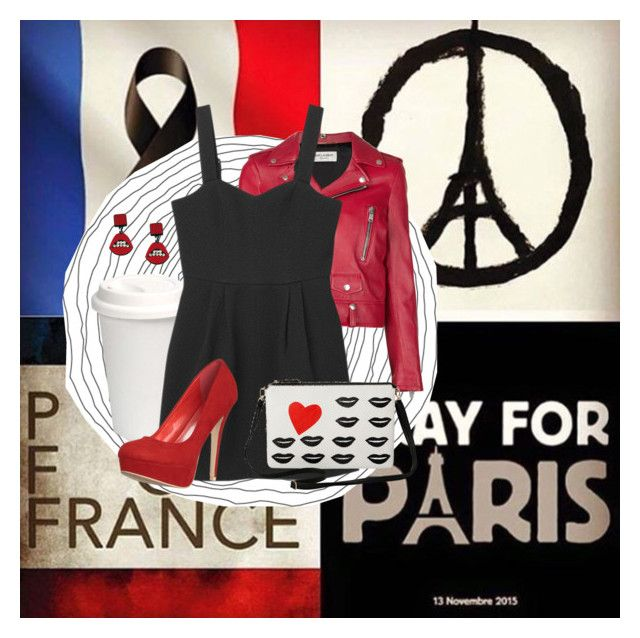 """""""Paris is on our minds..."""" by roserahe ❤ liked on Polyvore featuring Yves Saint Laurent, Monki, Torrid, Jennifer Loiselle and prayforparis"""