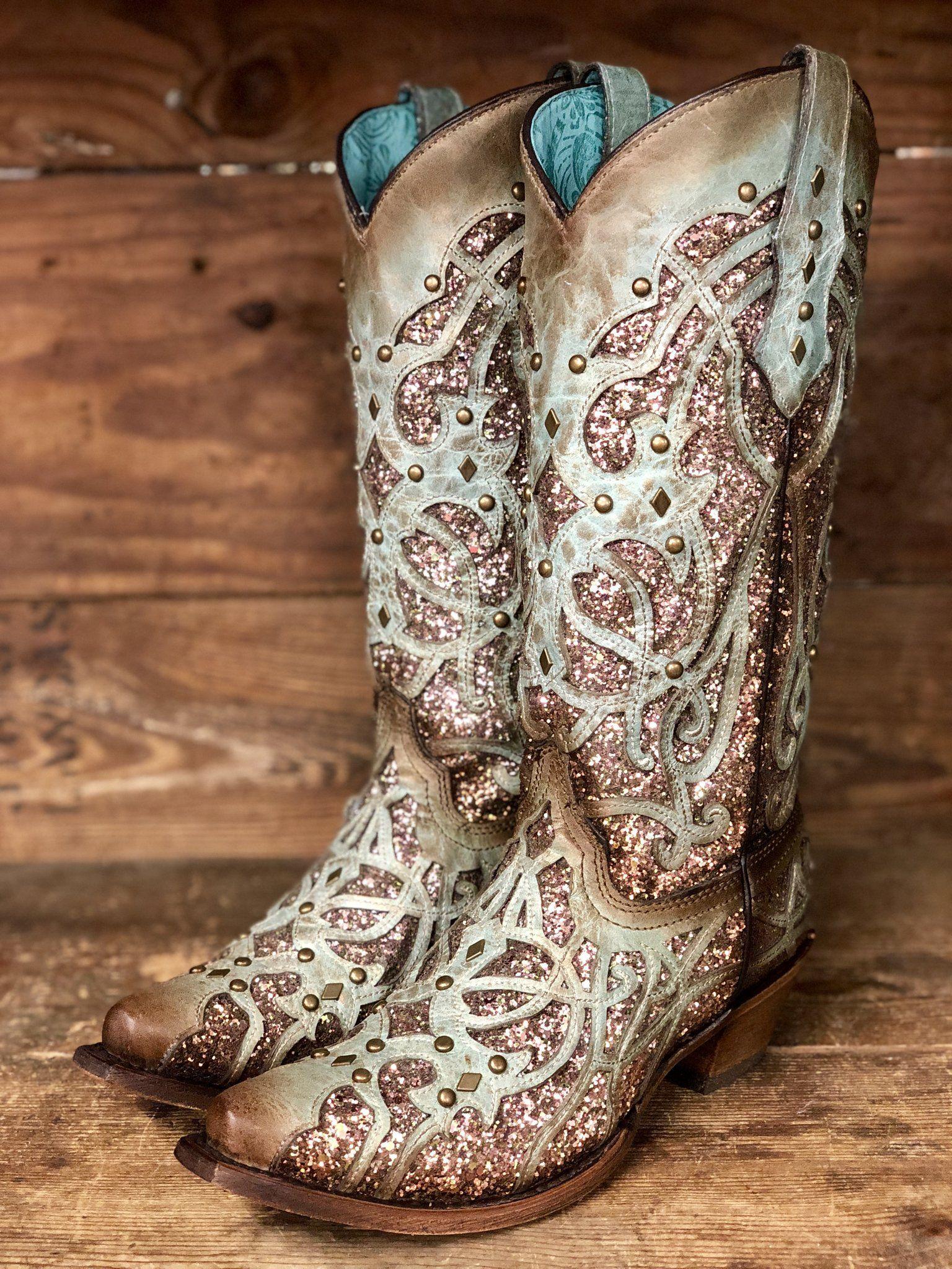 495f88d0cdad Corral Women's Mint & Chocolate Glitter Inlay Snip Toe Western Boots C3332