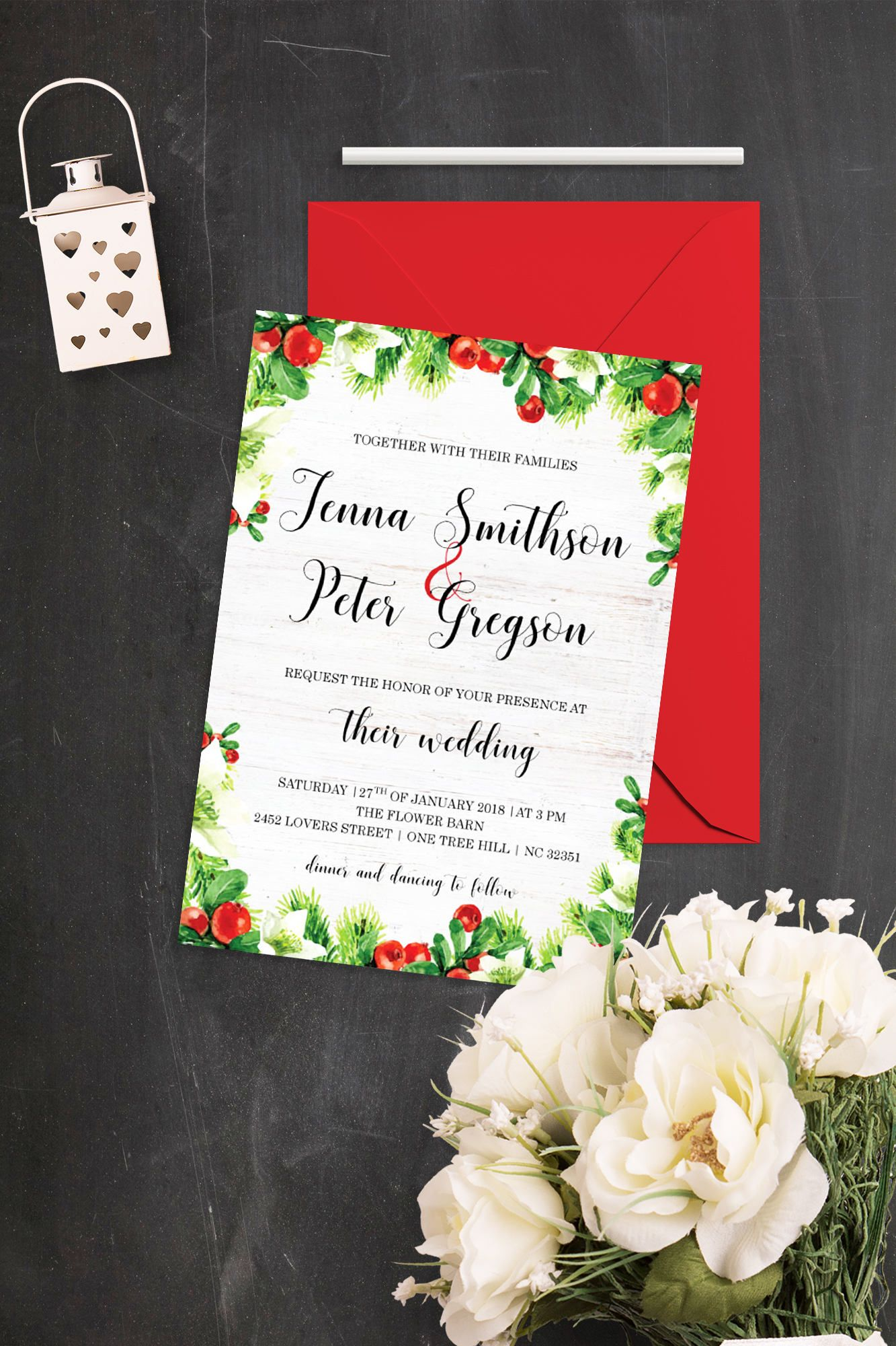 Winter Wedding Invitation Suite Printable Wedding Invite Christmas ...