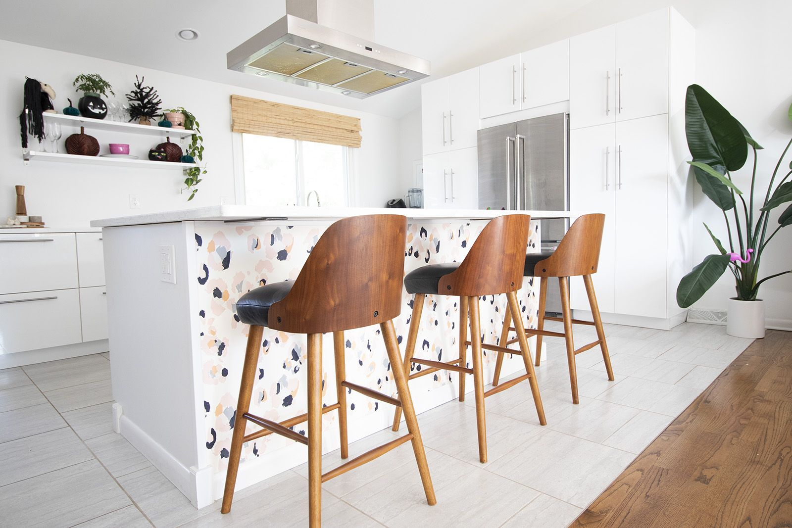 Wallpapering Our Kitchen Island Stools For Kitchen Island Wallpaper Kitchen Island Kitchen Wallpaper