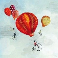 Tableau Cyclistes in volo by Manuela Magni (50 x 50 cm) - Lilipinso