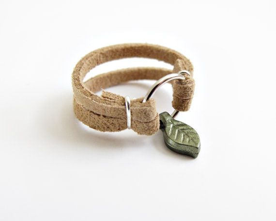 Leather Ring with Leaf Charm  Choose Your by SOMETHiNGMONUMENTAL, $9.00