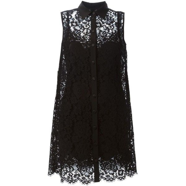 Dolce & Gabbana lace shirt dress (2 925 AUD) ❤ liked on Polyvore featuring dresses, tops, vestidos, short dresses, black, sleeveless shirt dress, black collared dress, shirt dress, black lace dress and black lace cocktail dress