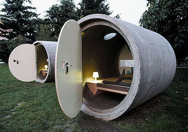 wacky concrete pipe hotel design ideas in austriacement work - Concrete Design Ideas
