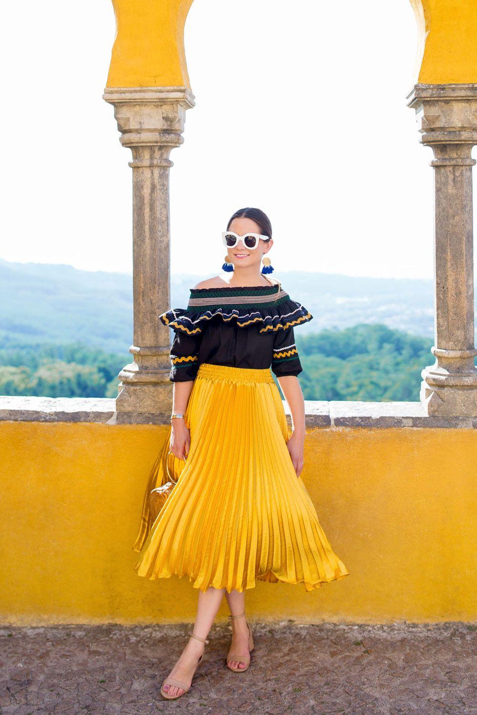 9a32138b0 Yellow Metallic Satin Pleated Skirt
