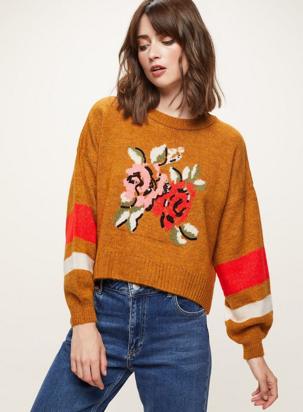 Rust floral jacquard knitted jumper jumpers u cardigans clothing