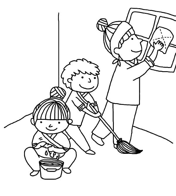 Kindness Is Helping Mother Cleaning House Coloring Pages