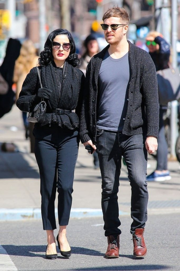 03dfe58a4d35 Dita Von Teese   Her Boyfriend Out For A Romantic Stroll In New York City