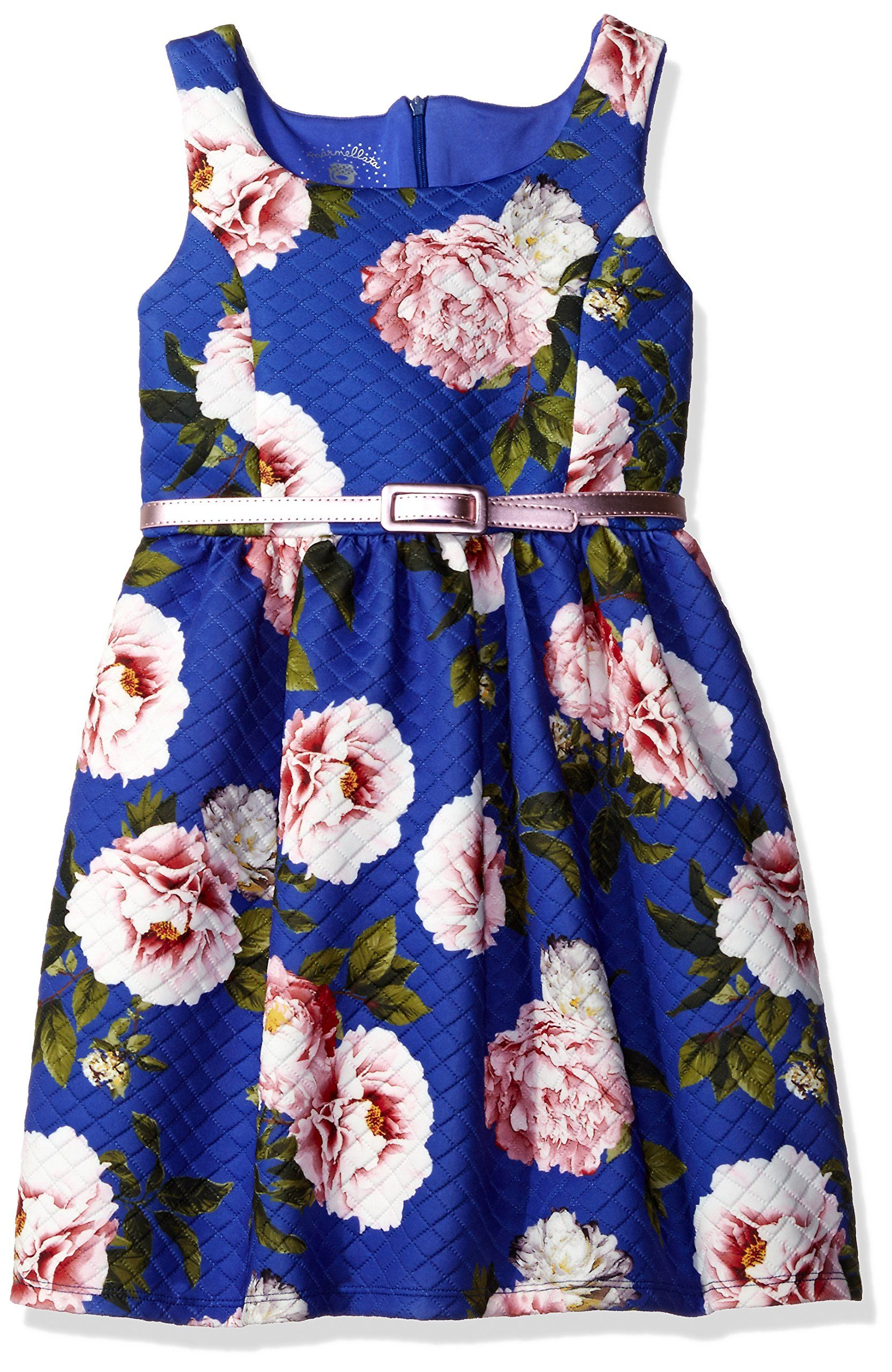 Marmellata Big Girls Belted Tank Dress Quilted Blue 10