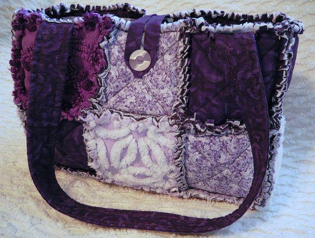 Purple Rag Quilt Purse with Vintage Chenille Flower