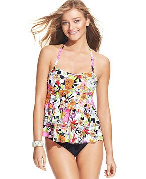 9277b58f8 Island Escape Floral-Print Tiered-Ruffle Tankini Top & Solid Bikini Bottom  - Swimwear - Women - Macy's