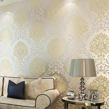 SIA Wallpaper rolls European style wallpaper environmental non woven wall covering 3D floral tapete rolls bedroom 53x1000cm(China (Mainland))