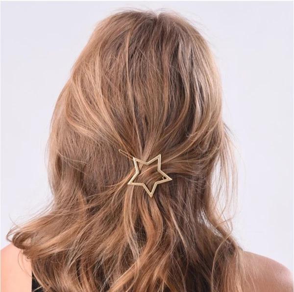 Lady Fashion Hair Accessories Hollow Five-pointed Star Hairpin Hair Clip