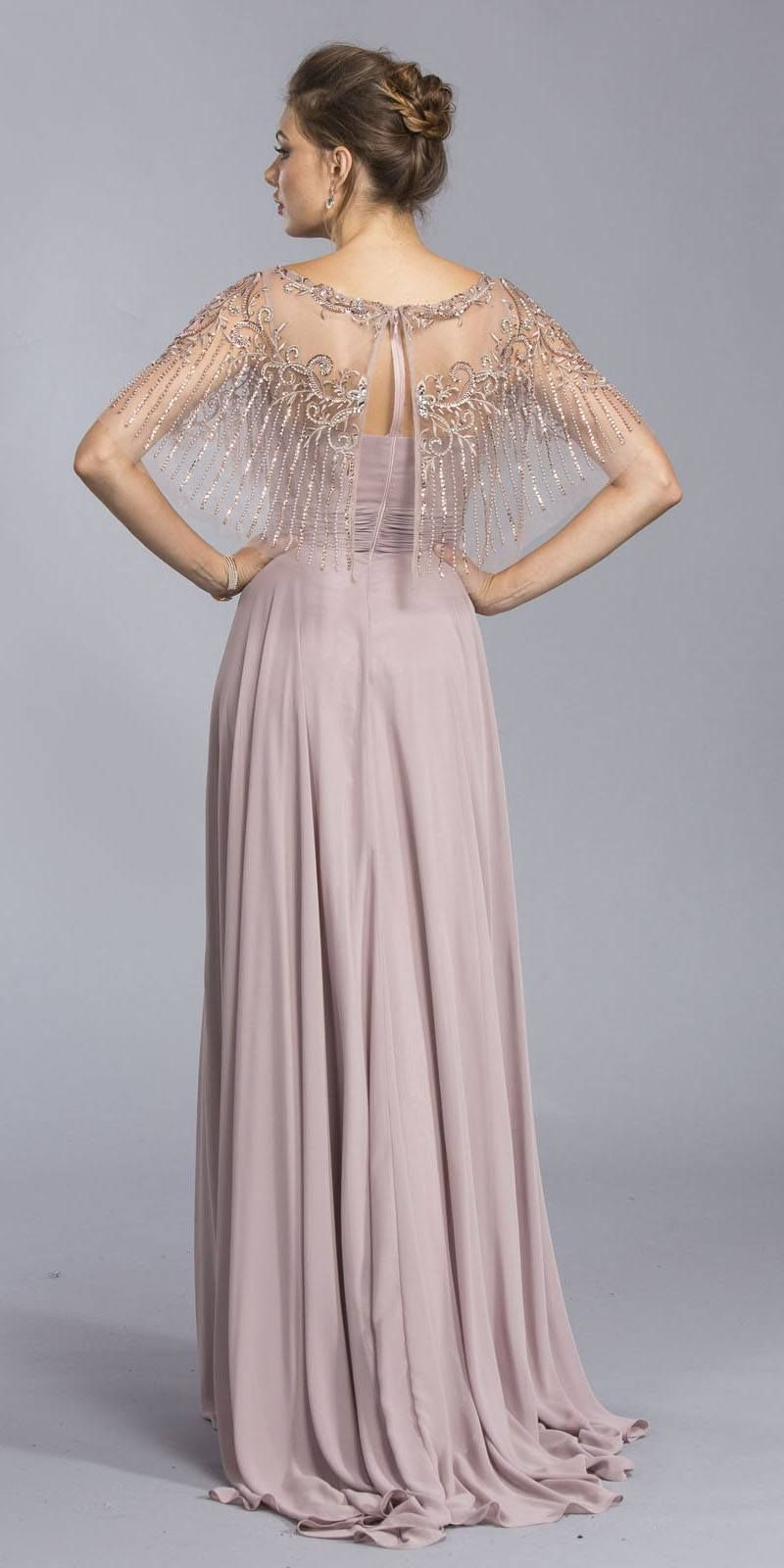 Mauve floor length formal dress with embroidered poncho in