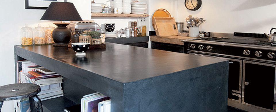 Projet Deco Projet Deco Cuisine Decoration Enduit Decoratif Cuisine Noir Couleur Mercadier Enduit Decoratif Be Cuisine Beton Beton Cire Cuisine Plan De Travail