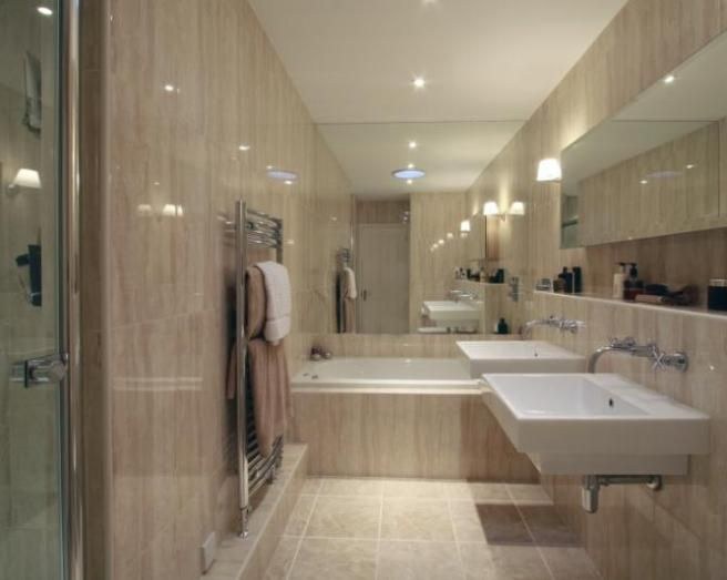 Photo Of Modern Stylish Beige Brown Marble Bathroom With Mirror Mirrors Suspended Sink Big