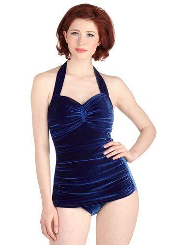 e64bb7e6c9 Bathing Beauty One-Piece Swimsuit in Royal Velvet. It s ModCloth s ultimate  swimsuit - now in a lush blue velvet!  blueNaN
