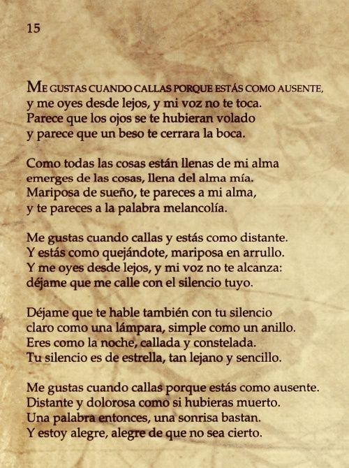 Pin De Marian Hornus En Deliriovs For Your Love Me Gustas Cuando Callas Poemas De Amor Poema 15